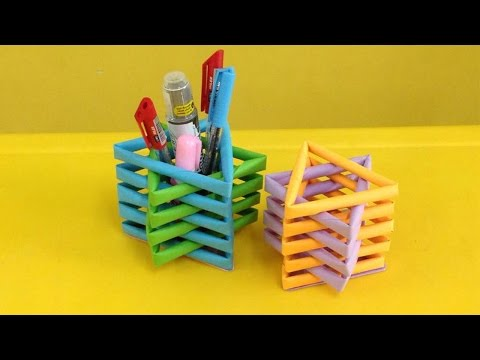 How to make a paper pencil holder | Easy origami pen holders for beginners making | DIY-Paper Crafts