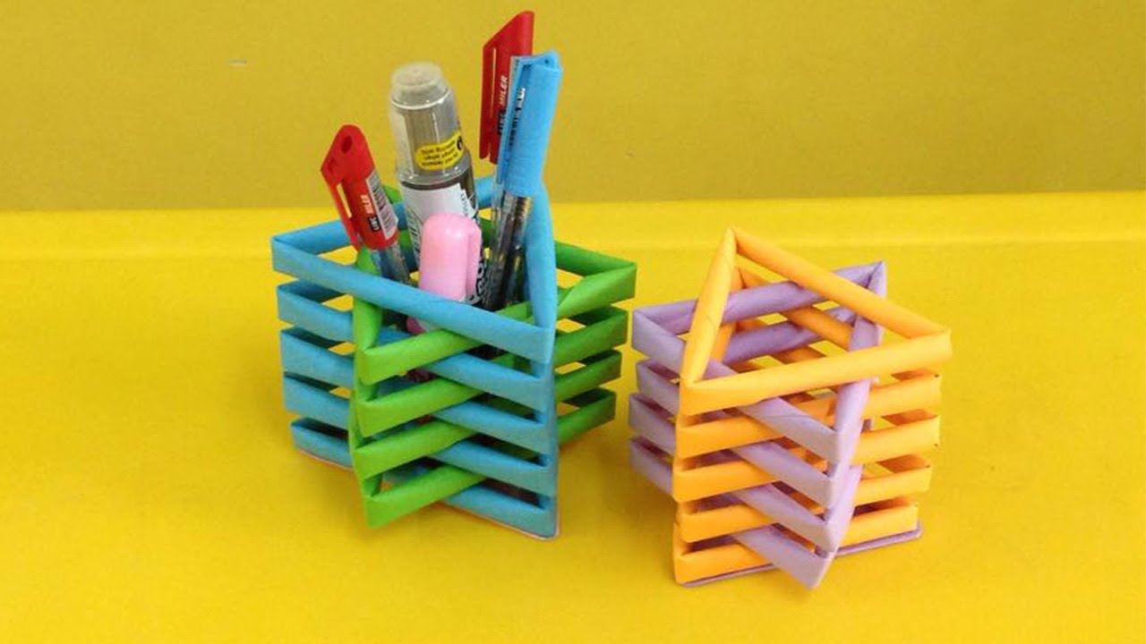 Homemade Pencil Holders How To Make A Paper Pencil Holder Easy Origami Pen Holders For Beginners Making Diy Paper Crafts