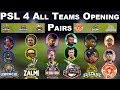 PSL 2019 | All Teams Opening Pairs For Pakistan Super League 2019 | Opening Teams Players For PSL 4