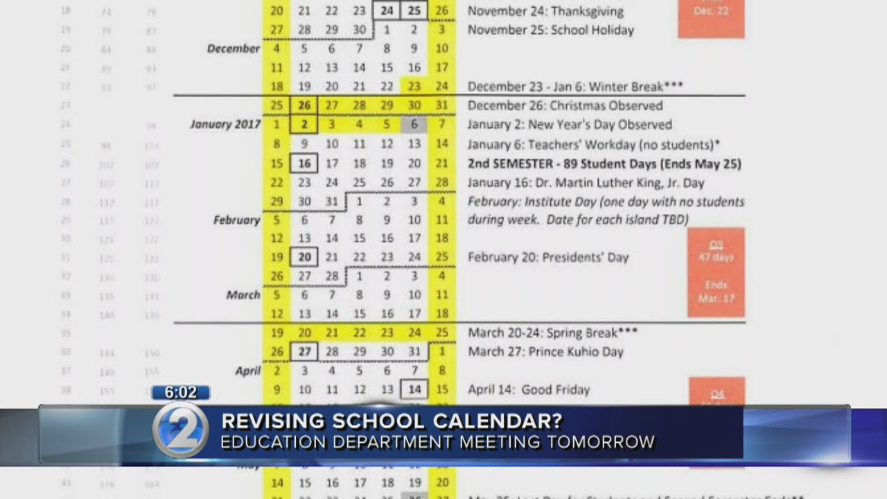 No Heat Related Changes In Doe S Proposed 2016 17 School Calendar