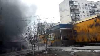 Обстрел украинской армией Мариуполя 24,01,15 Ukrainian fascists shell Mariupol.