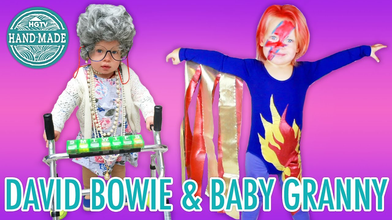 DIY Baby David Bowie u0026 Granny Halloween Costumes - HGTV Handmade - YouTube  sc 1 st  YouTube : bowie costumes  - Germanpascual.Com