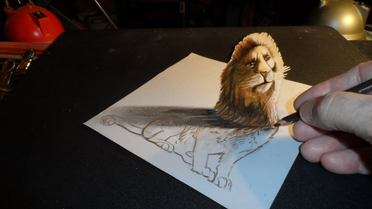 how to draw a 3d lion trick art youtube