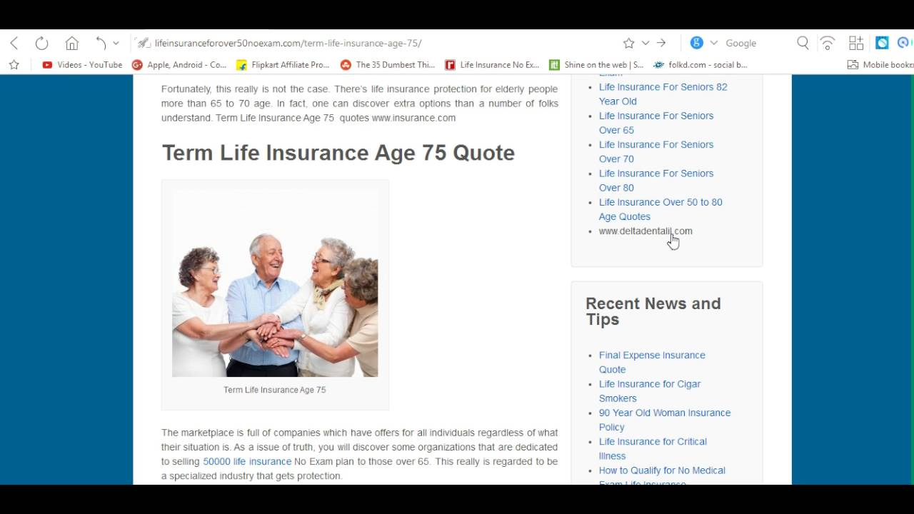 Life Insurance Over 50 Quotes Term Life Insurance Age 75  Youtube