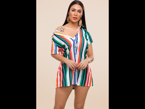 Stylish Casual Style Rainbow Stripe Print Lapel Inelastic Dress Wholesale Mini Dresses A21652