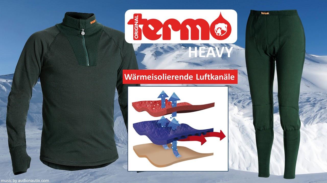 Termo Original Heavy lange Unterhose mit Eingriff gr/ün Thermo-Unterw/äsche