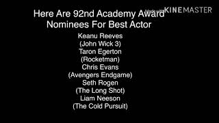 Here's The Best Actor Nominees For The 92nd Academy Awards (For Academy Award Fans)