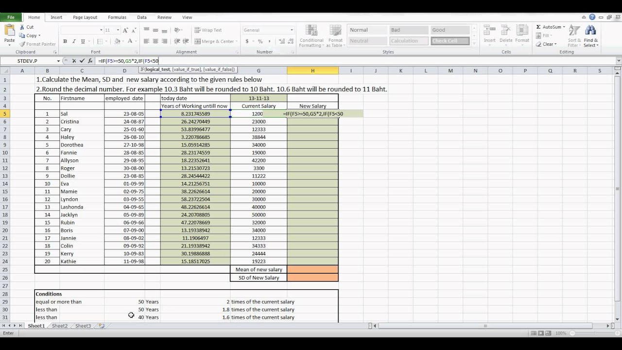 How to calculate new salary by using Microsoft Excel - YouTube