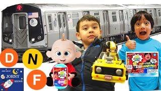 Johny's MTA Subway Train Ride With Ryan ToysReview Toys Through Portal