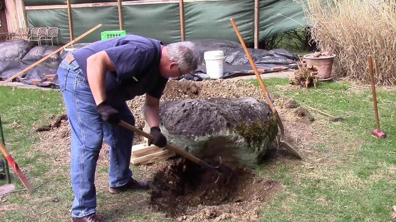 Moving A Big Rock With A Hand Truck A Lawn Tractor And A Willing Wife Youtube