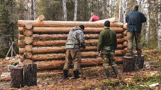 Build log cabin in taiga. Five men live in the taiga. Part I