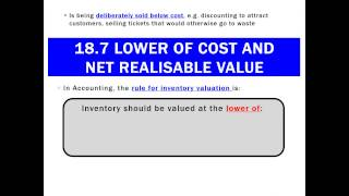 18.7 Lower of Cost and Net Realisable Value
