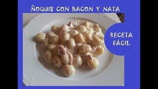 ÑOQUIS o gnocchi en sarten con queso azul y bacon.