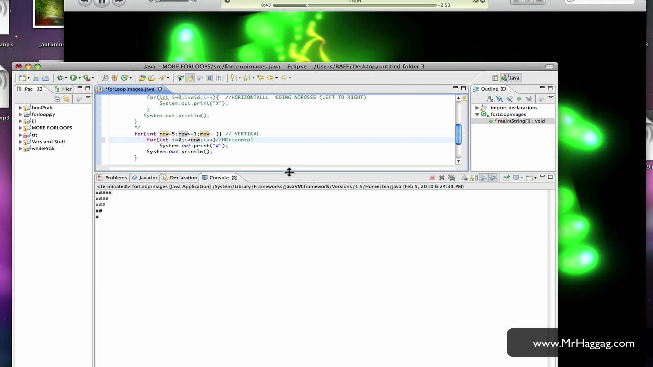 Java Screencast Tutorial 11 - 'Drawing' Patterns with