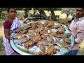 Village Dinner With Crab Soup With Rice - Cooking 100 Crabs Soup & Tasting - Indian Crab Recipe 2018