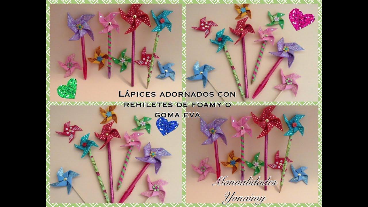 Lapices o plumas adornados con rehiletes de foamy o goma - Plumas para decorar ...