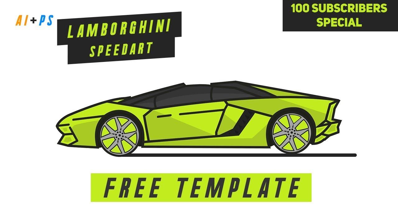 *FREE TEMPLATE* -- Lamborghini Illustration SpeedArt (TimeLapse) |  VisionAric