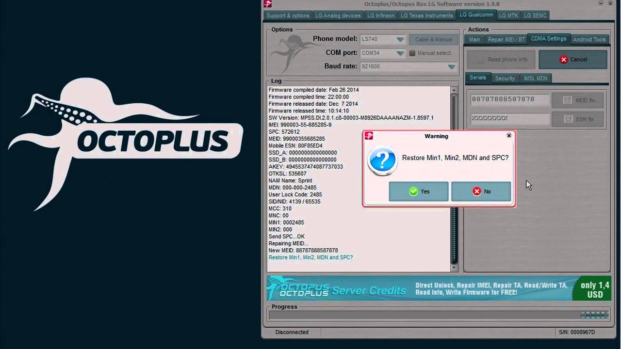 LG LS740 - Repair IMEID - Octoplus Box: unlock and repair tool