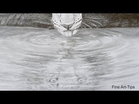 How to Draw a Reflection on Water - A Leopard Drinking Water