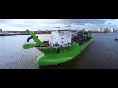 DEME's LNG powered 'Scheldt River' constructed and launched at Royal IHC's shipyard