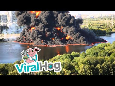 Oil Pipeline Fire In The Moscow River || ViralHog