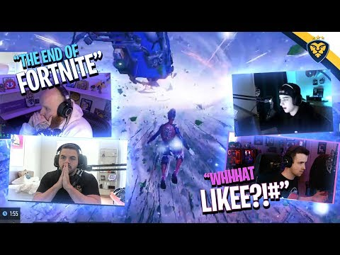 STREAMERS REACT TO THE END OF FORTNITE! (Fortnite: Battle Royale)