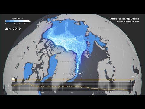 Animated Maps: Arctic Sea Ice Age Decline