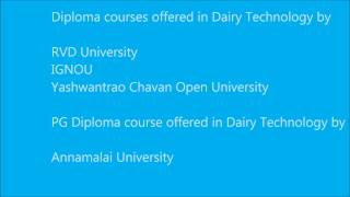 Dairy Technology courses through distance education in India