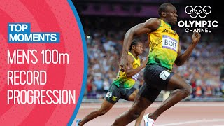 All Men's 100m Olympic Records! | Top Moments