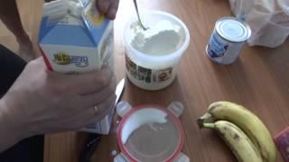 творог, молоко, банан + сгущенка, вот тебе и протеин и гейнер!