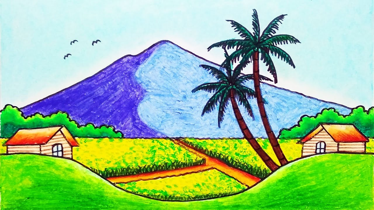 How to Draw Easy Village Scenery and Beautiful Rice Field Drawing with Oil Pastels