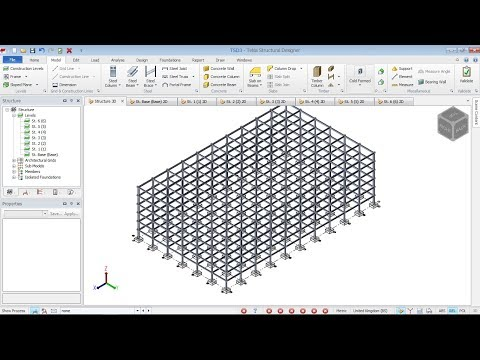 Construction levels,grid creation design codes settings in TEKLA STRUCTURAL DESIGNER 2017