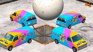 Beamng drive - Giant chain vs. Giant Ball crashes (giant chain crashes)