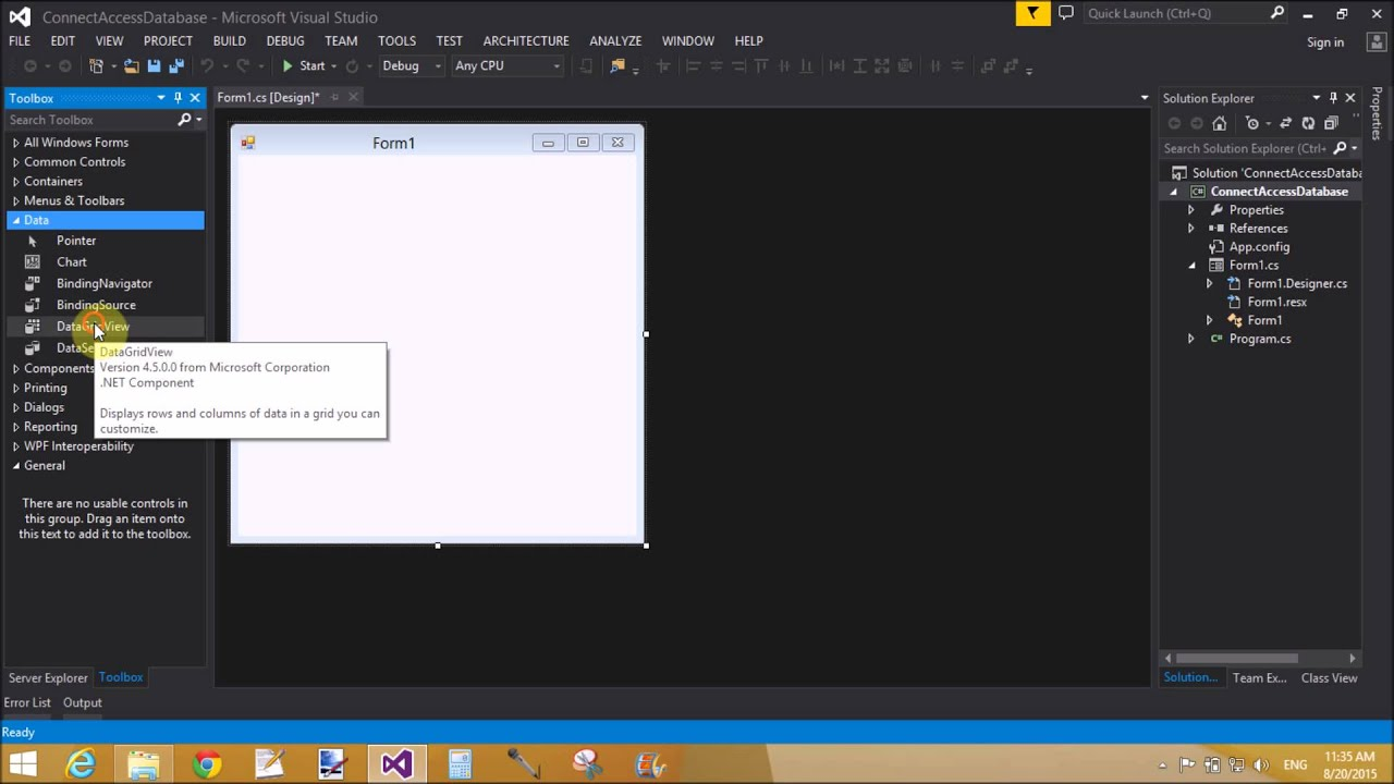 How to connect Access Database to windows form c# part 1/2