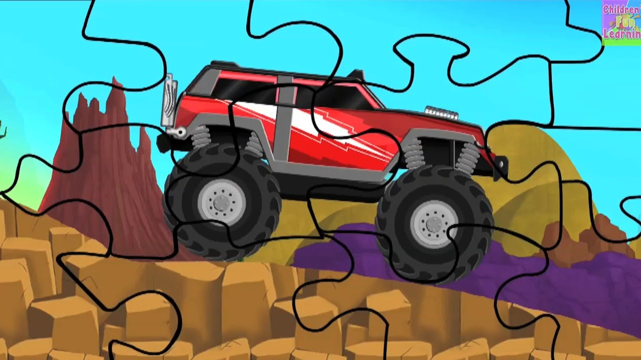 Monster Truck Puzzle L Monster Trucks L Puzzles L Truck Puzzle Youtube