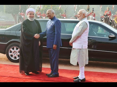 President Kovind accorded a ceremonial welcome to President Dr Hassan Rouhani of Iran
