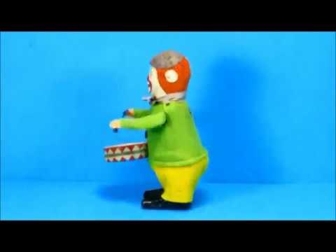Clown Drummer Schuco West Germany Windup Tin Toy