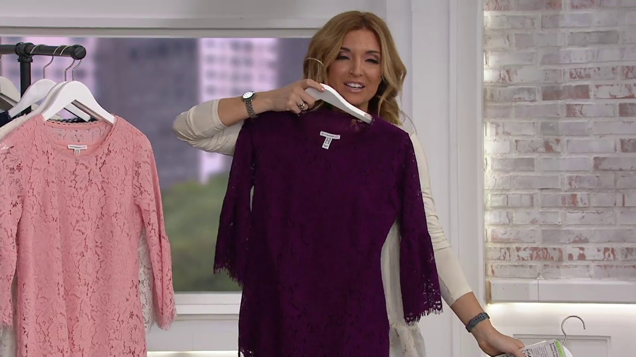 6563868d827 Isaac Mizrahi Live! Floral Lace 3/4 Bell Sleeve Tunic on QVC - YouTube