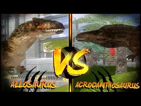 Dinosaur Battles - Allosaurus Vs Acrocanthosaurus | Jurassic Park : Operation Genesis