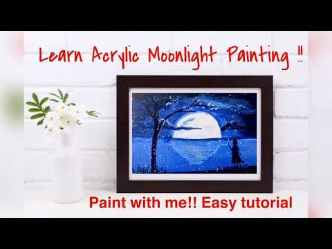 Acrylic Painting tutorial of moonlight step by step