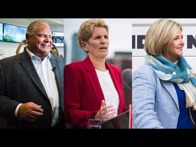 "Ontario NDP Leader Andrea Horwath is framing Thursday's election as a ""stark"" choice between her party and Doug Ford's Progressive Conservatives. The three main party leaders made their pitches to undecided voters on Wednesday. (The Canadian Press)"