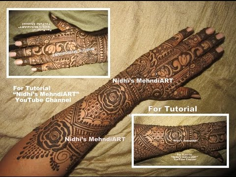 Mehndi Designs Learning Hands : Full hand traditional bridal henna mehndi design art tutorial by