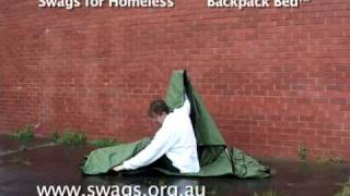 Backpack Bed - open close demo - by Swags for Homeless Founder Tony Clark