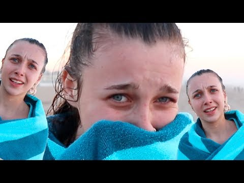 SWIMMING IN THE FREEZING COLD OCEAN *CHALLENGE*