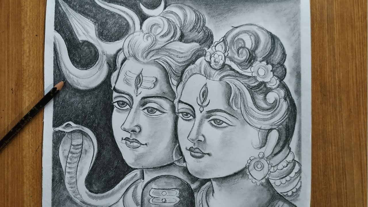 How To Draw Lord Shiva And Maa Parvati For Nil Puja How To Draw
