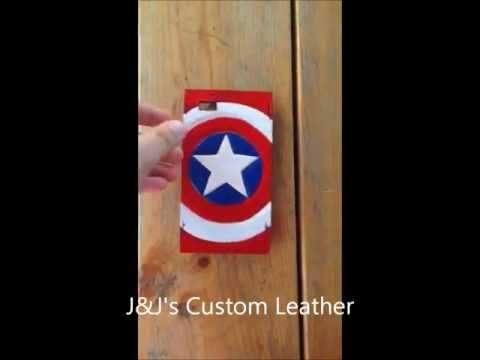 leather captain america shield iphone 5 case, made in america, j&j's custom leather