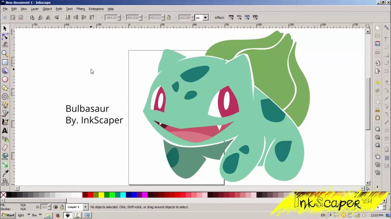 Drawing Pokemon Bulbasaur Vector In Inkscape Youtube