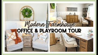 MODERN FARMHOUSE HOME OFFICE & PLAYROOM TOUR | DIY OFFICE REVEAL FALL 2019