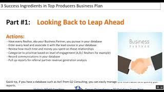 Three Success Ingredients Found in Top Producer's Business Plans - Part 1 of 3