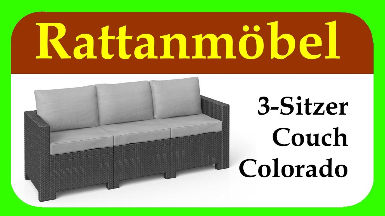 rattanm bel colorado 3 sitzer couch g nstiges rattansofa f r garten balkon und terrasse. Black Bedroom Furniture Sets. Home Design Ideas